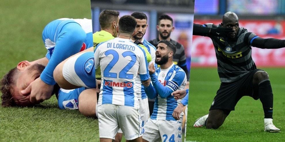 Insigne rosso, Mertens ko: l'Inter batte il Napoli con Lukaku