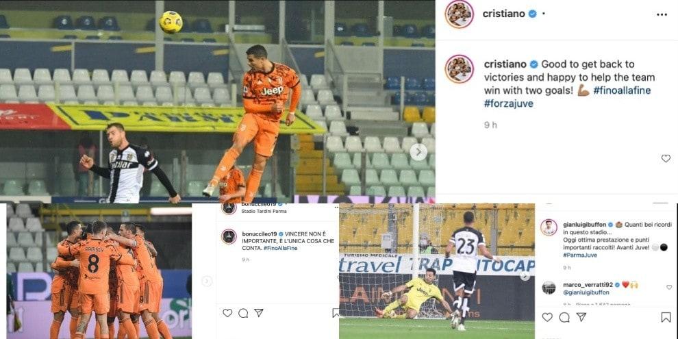 Juve super, contro il Parma finisce 4-0. Da Ronaldo a Buffon, le reazioni sui social