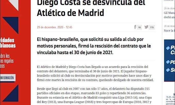 Mercato, Diego Costa saluta l'Atletico Madrid