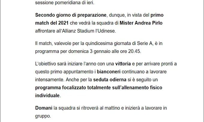 Verso Juve-Udinese, Pirlo e la squadra proseguono i preparativi