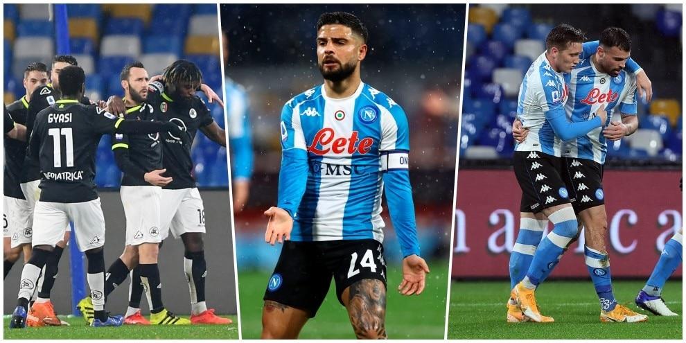 Napoli, che beffa! Petagna gol, ma lo Spezia rimonta con Nzola e Pobega