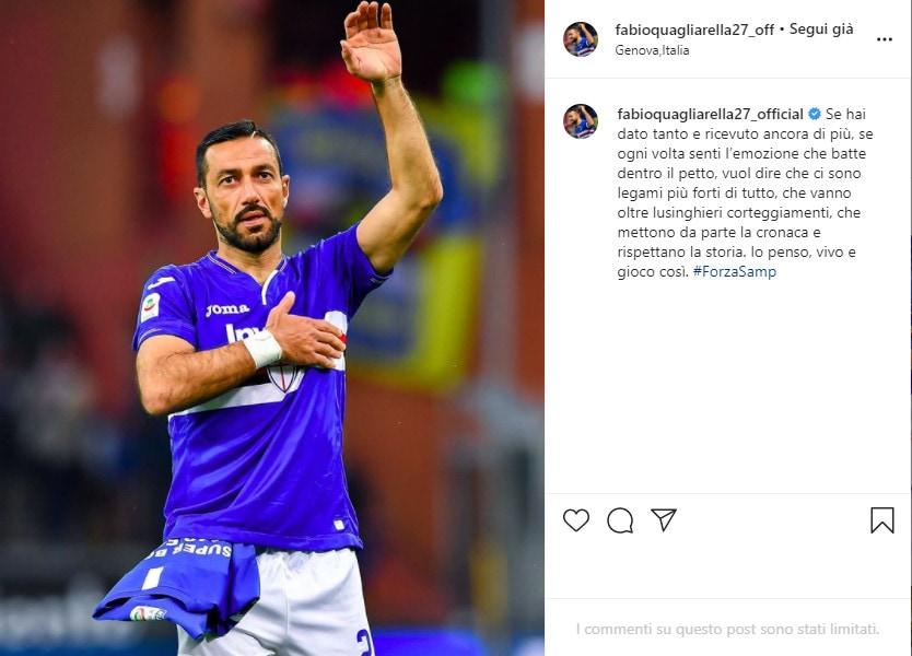 Quagliarella, il messaggio d'amore per la Sampdoria