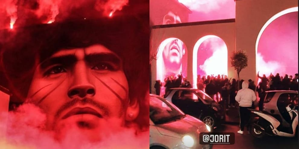 Le immagini dell'inaugurazione del nuovo murales dedicato a Maradona
