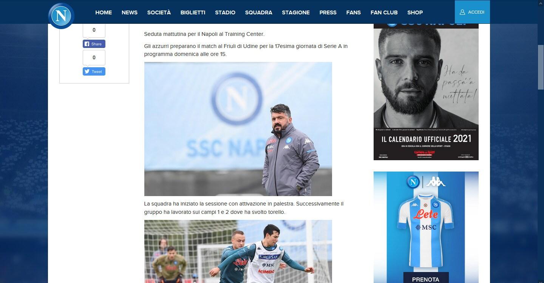 Il Napoli al lavoro verso la sfida contro l'Udinese