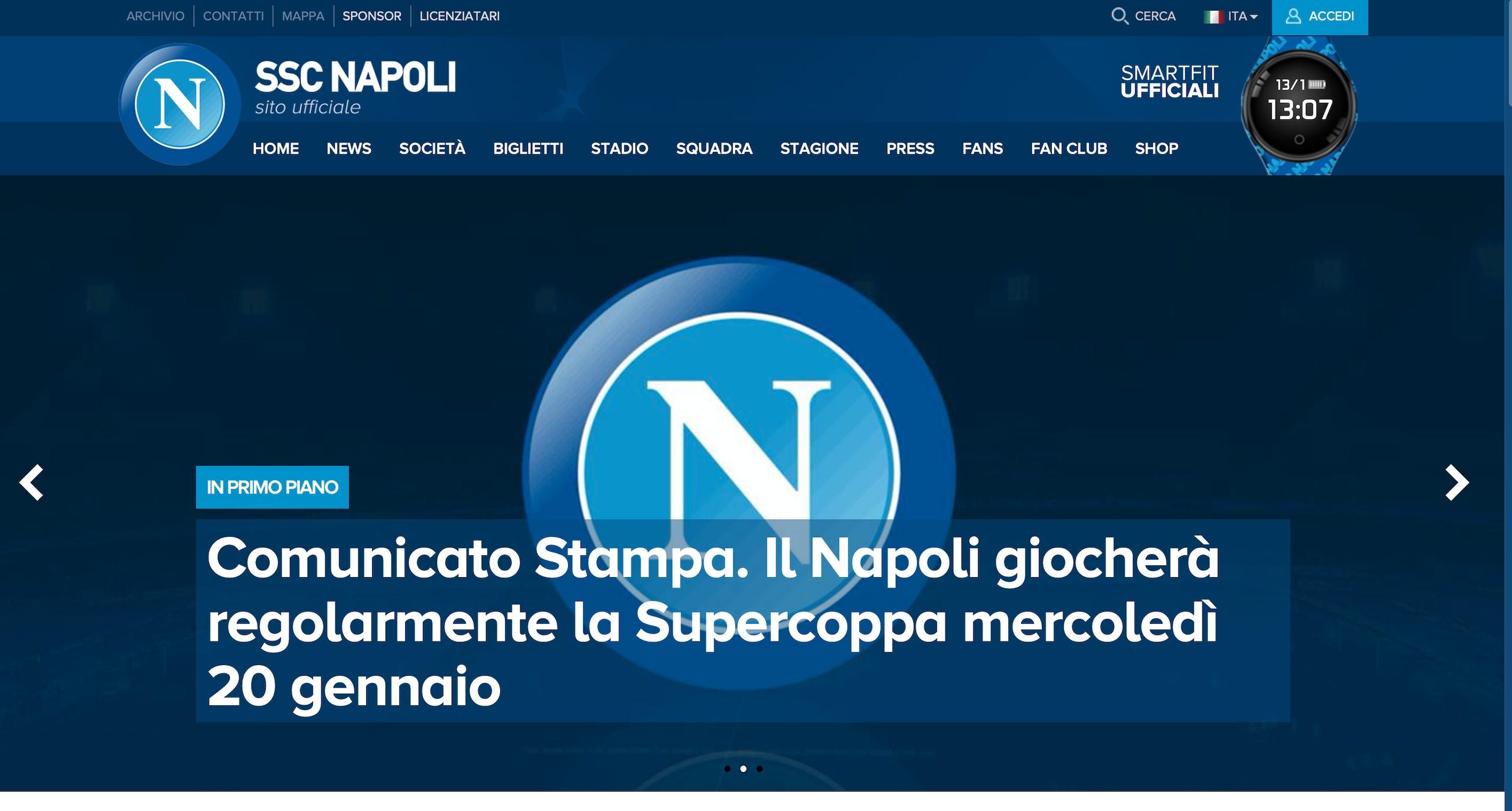 Il Napoli giocherà la Supercoppa