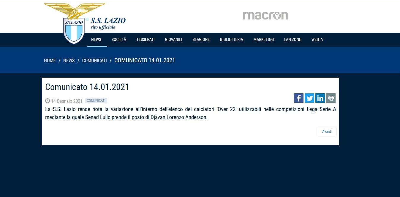 Lazio, Lulic inserito nella lista di Serie A