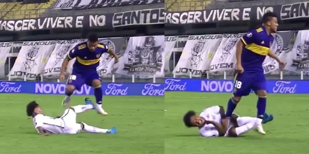 Libertadores, Santos-Boca shock: l'entrata killer di Fabra su Marinho