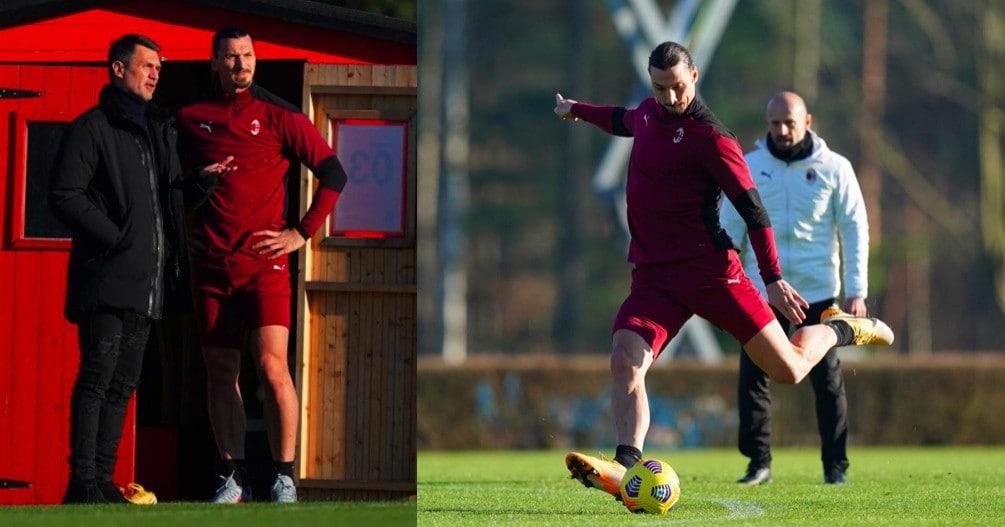 Milan, Ibra scalpita in allenamento: colloquio con Maldini