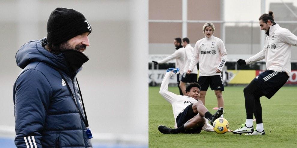 Juve, allenamento vista Inter. McKennie ringhia, Pirlo sorridente