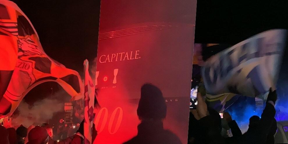 Lazio, il pullman lascia Formello tra i cori dei tifosi