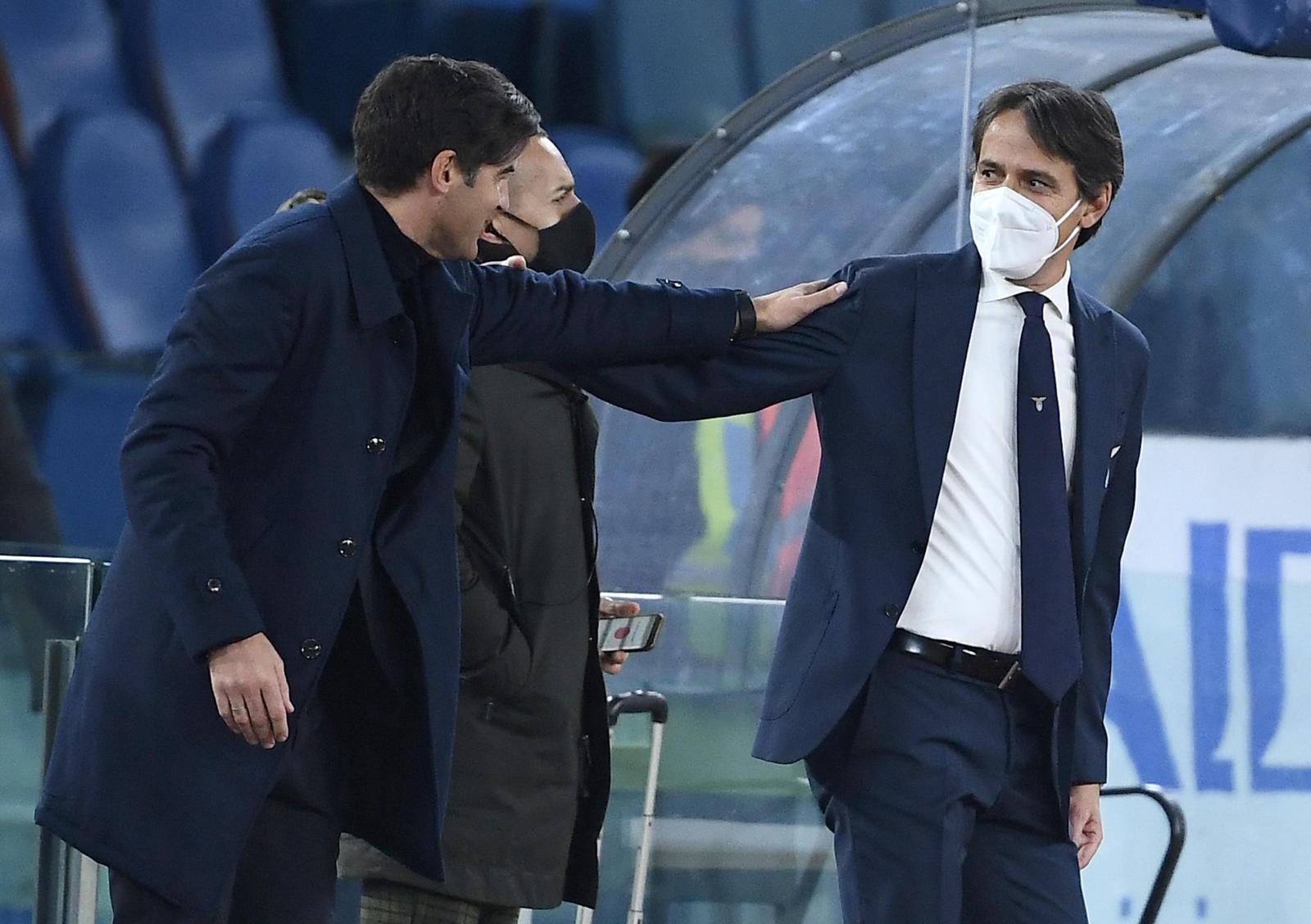Inzaghi-Fonseca, pacca sulle spalle prima di Lazio-Roma