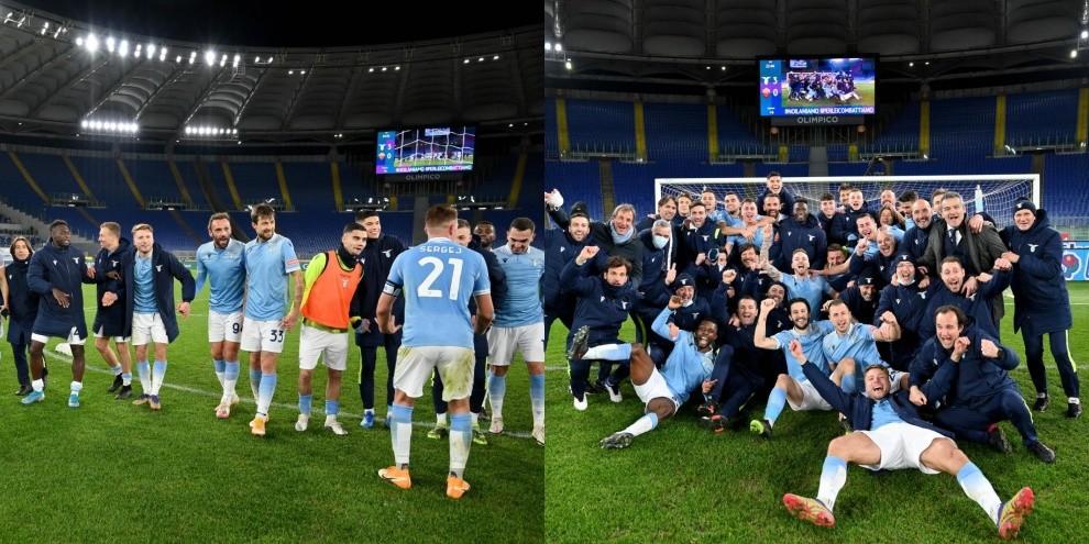 Lazio, festa finale nel derby: foto simbolo sotto la Curva Nord