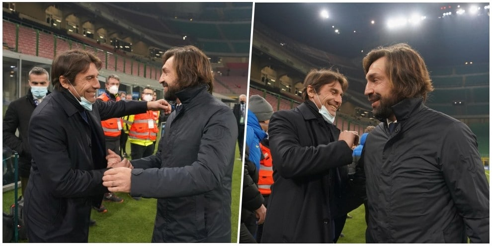 Quanto affetto tra Conte e Pirlo, ex della Juve avversari per una notte