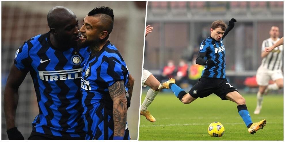 Vidal di testa e Barella di destro: l'Inter mette ko la Juve e vola