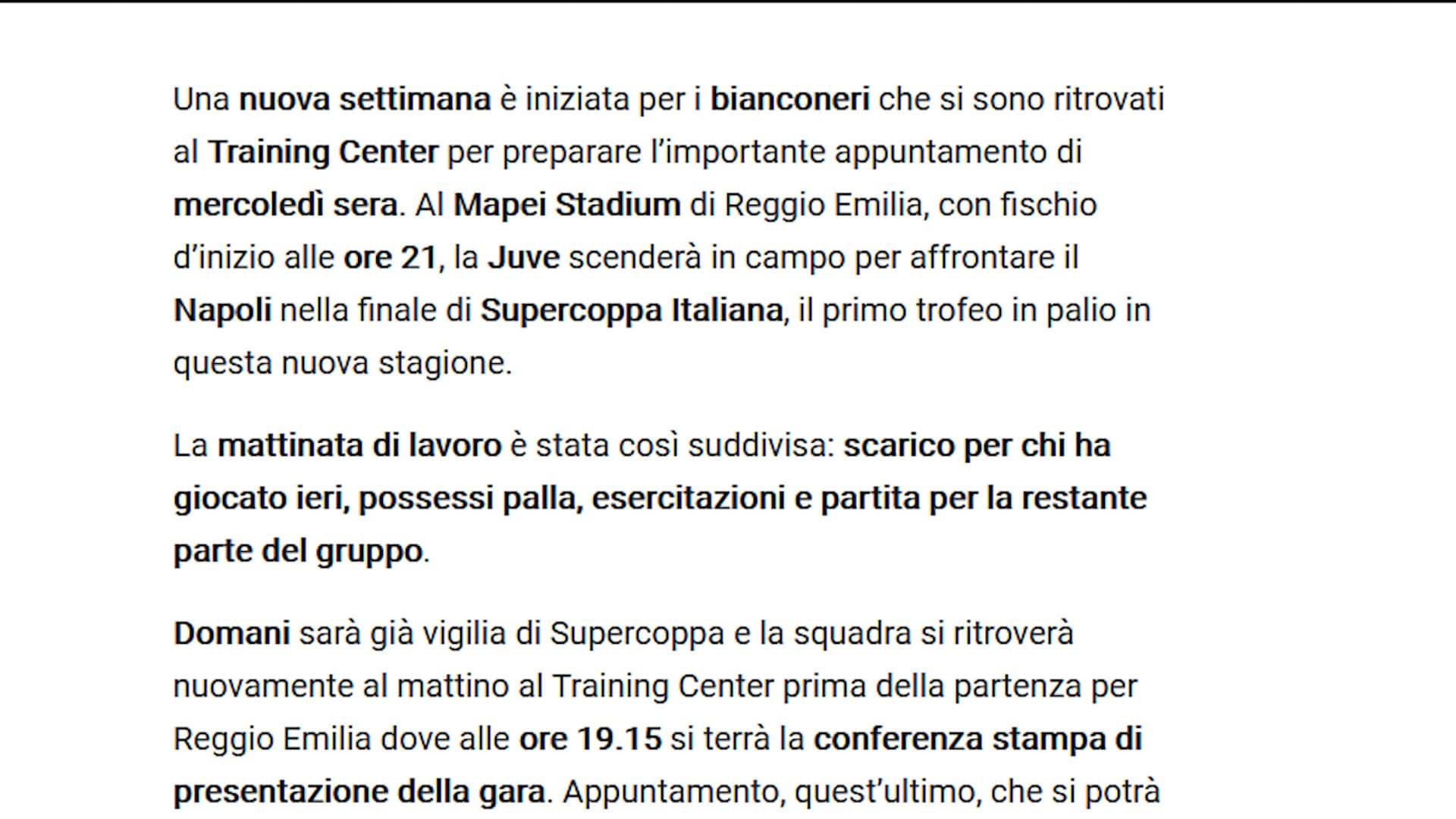 La Juve riprende il lavoro in vista del Napoli