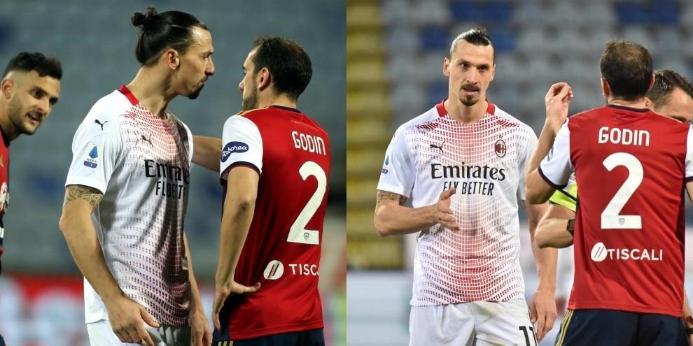 Ibrahimovic-Godin, che duello! I due faccia a faccia durante Cagliari-Milan