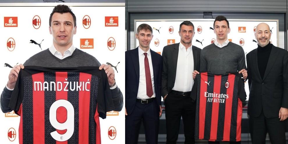 Mandzukic, maglia numero 9 e foto con la dirigenza Milan