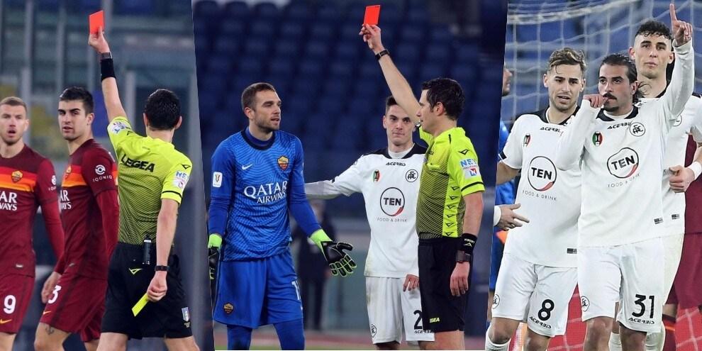 Disastro Roma: doppio rosso in 1' e Spezia ai quarti di Coppa Italia