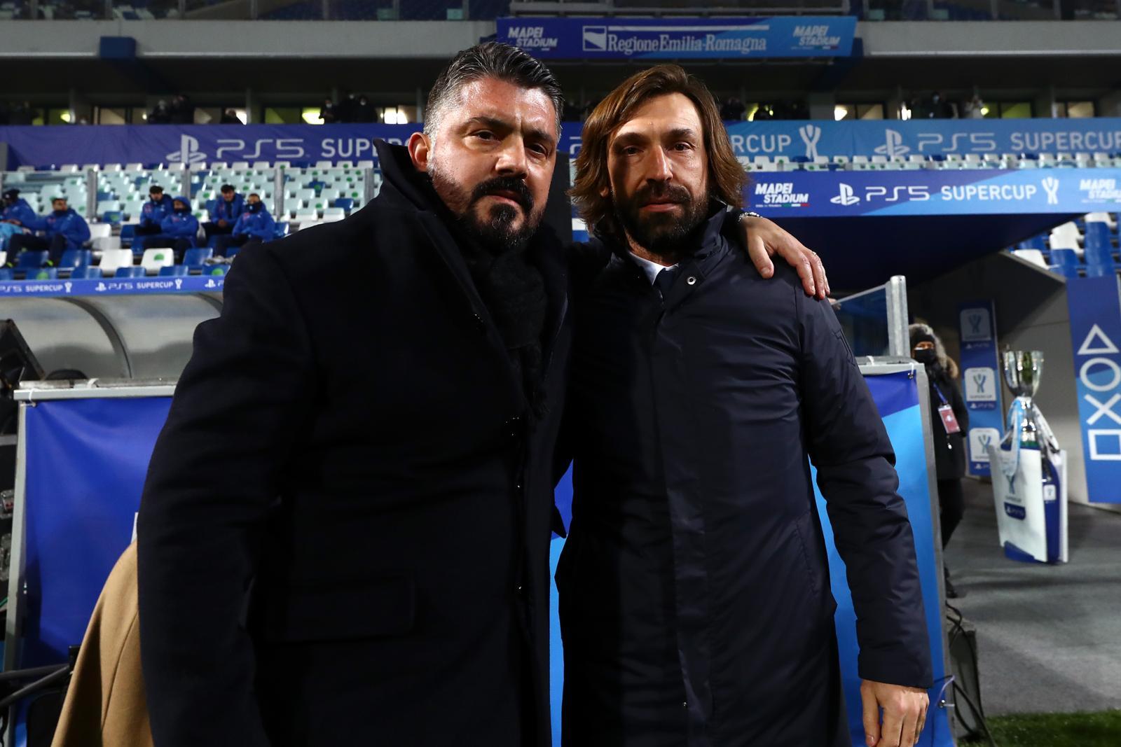 Pirlo e Gattuso, strette di mano e abbracci prima della Supercoppa