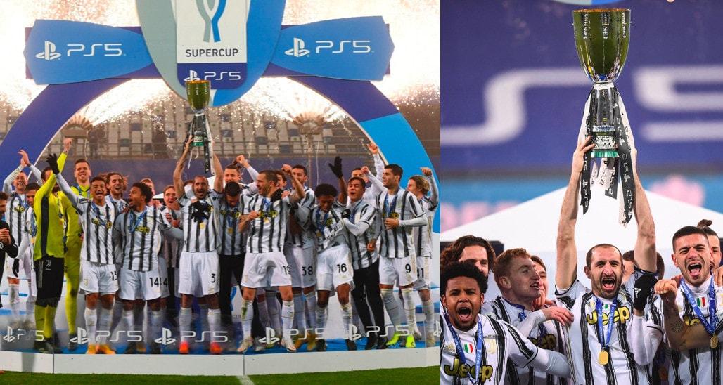 Juve, che festa: Chiellini alza la Supercoppa italiana