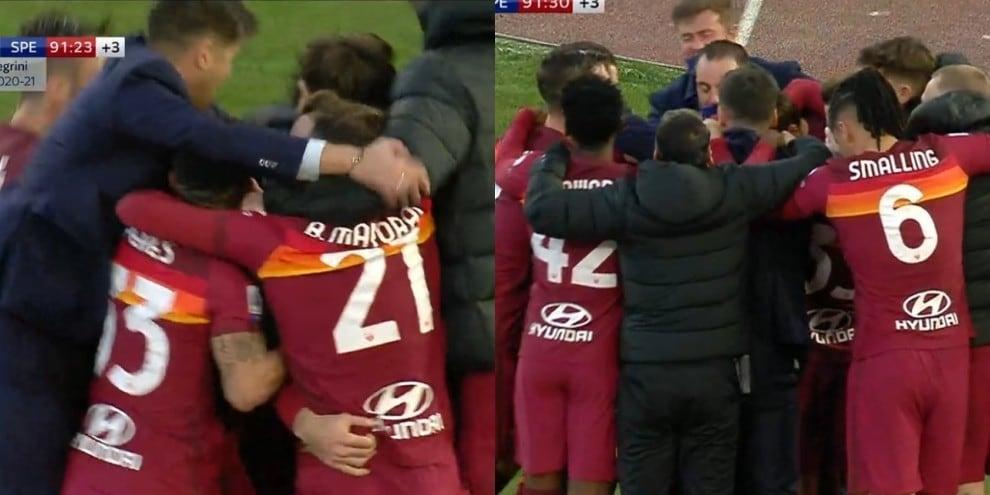 Pellegrini segna, Fonseca corre ad abbracciare la squadra
