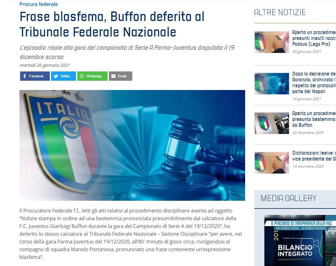 Juve, Buffon deferito per espressione blasfema