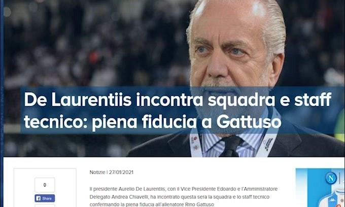 """L'annuncio del Napoli: """"Piena fiducia a Gattuso"""""""