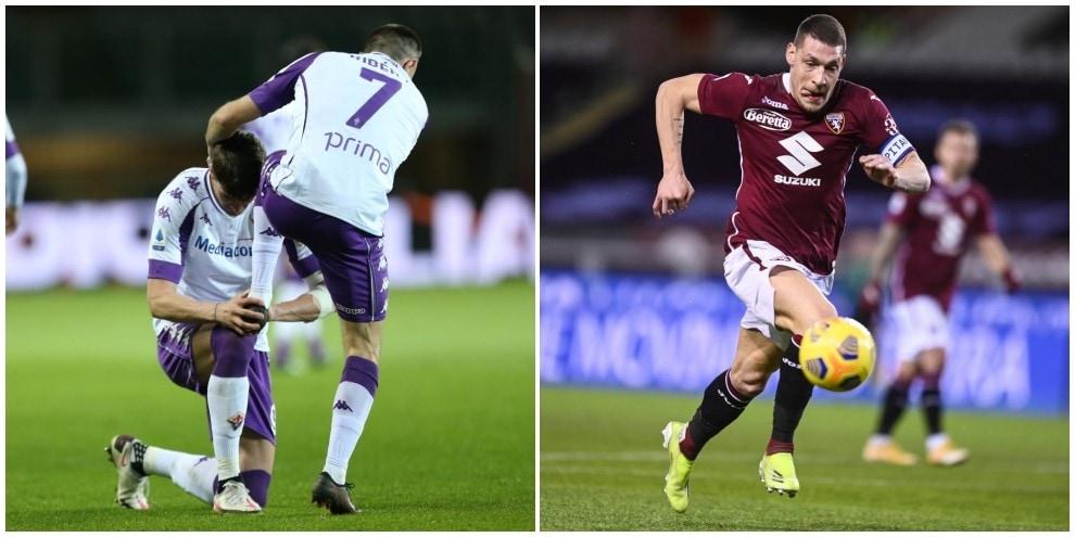 La Fiorentina sfiora il colpo in nove: 1-1 a Torino, gol di Ribery e Belotti