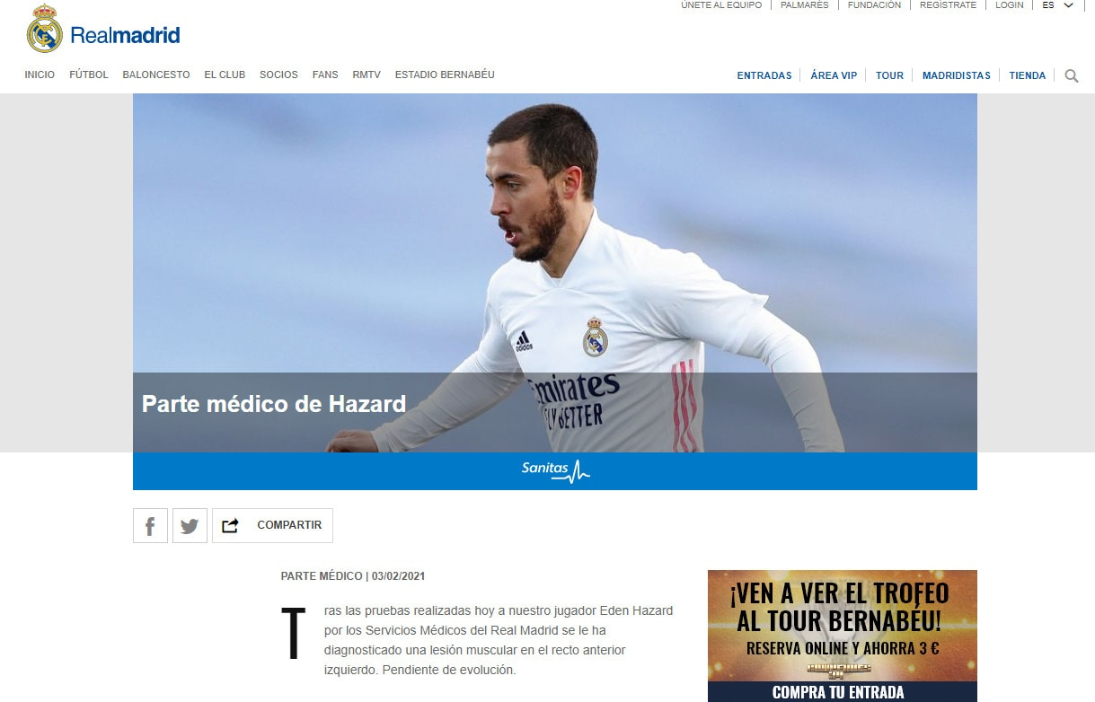 Real Madrid, stop di almeno 1 mese per Hazard