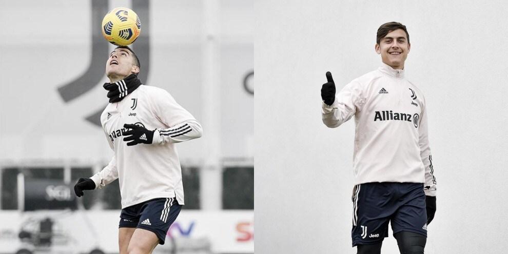 Juve, allenamento vista Roma: Ronaldo fa il giocoliere, Dybala in campo