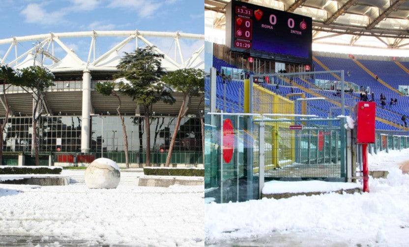 Neve a Roma nel weekend, il precedente all'Olimpico nel 2012