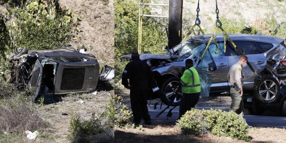 Tiger Woods, le immagini del terribile incidente in auto