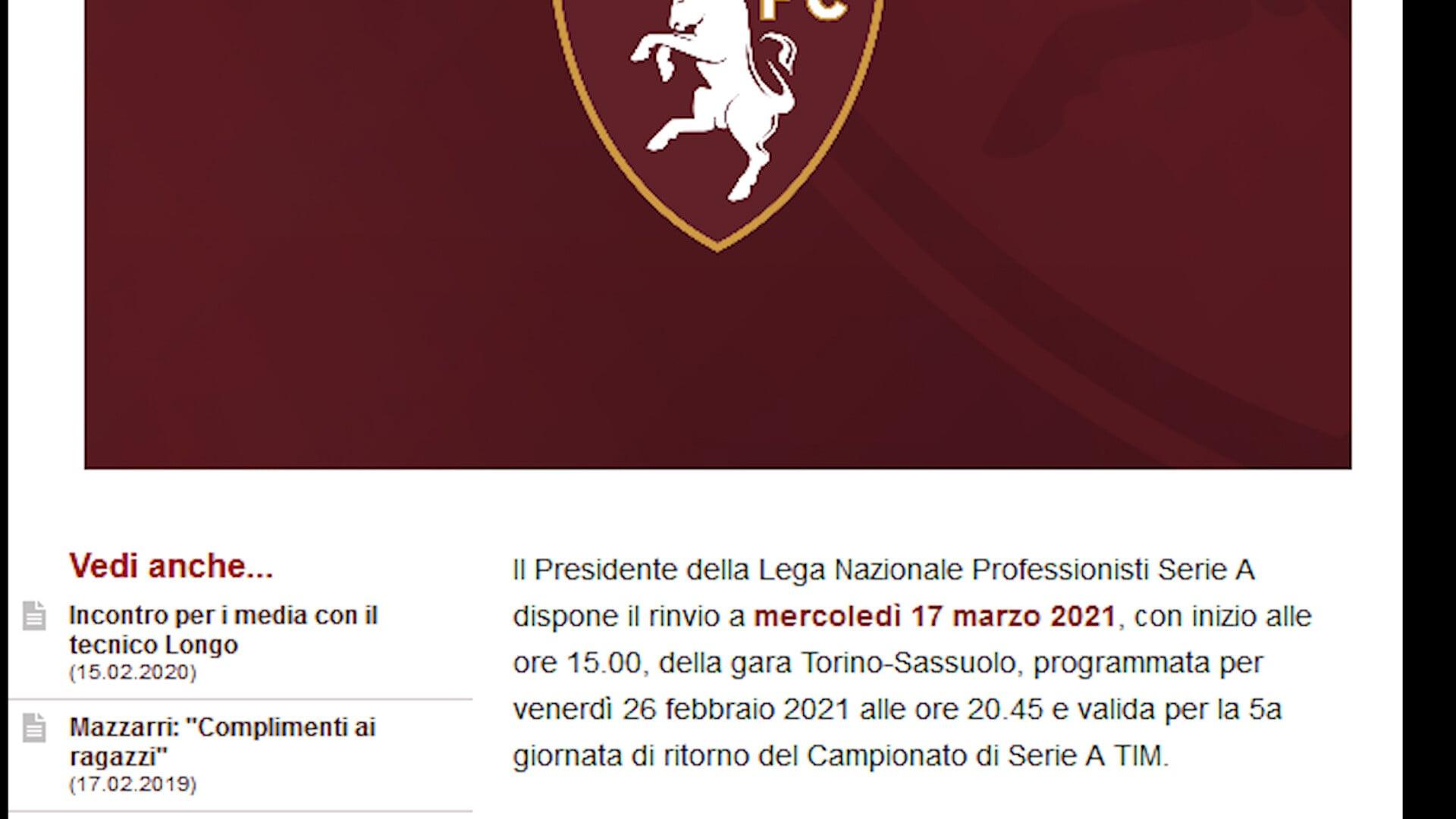 Ufficiale, Torino-Sassuolo rinviata per Covid
