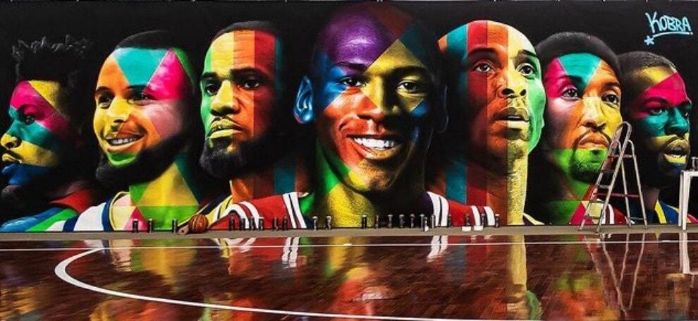 Da Kobe Bryant a Jordan: il murales per il campo da basket di Neymar