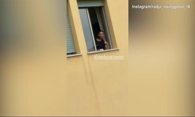 Nainggolan fa visita a Cossu...dalla finestra