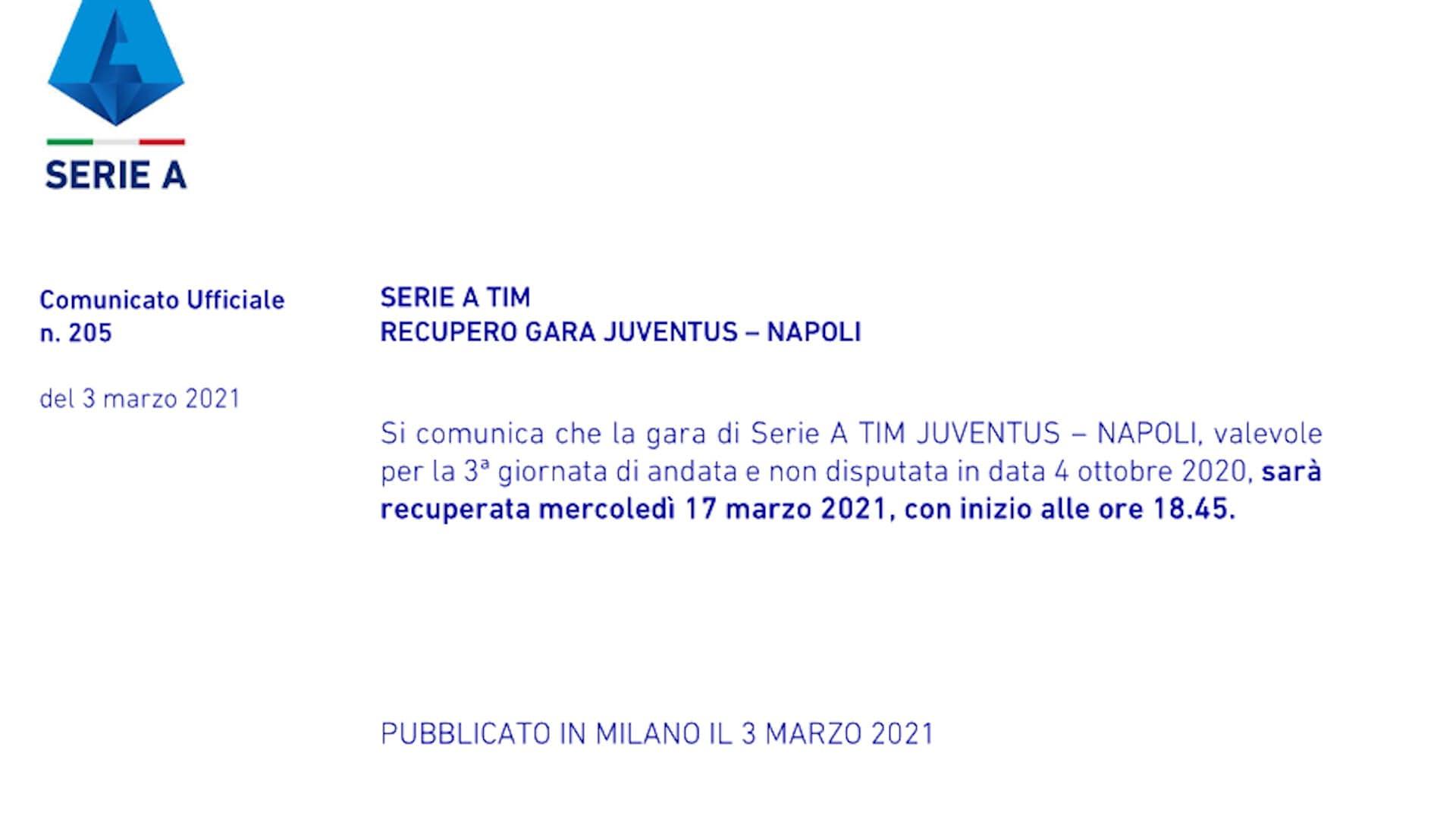 Ufficiale, Juve-Napoli il 17 marzo alle 18.45