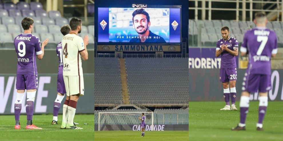 Astori, al 13' il ricordo commosso di Fiorentina-Roma