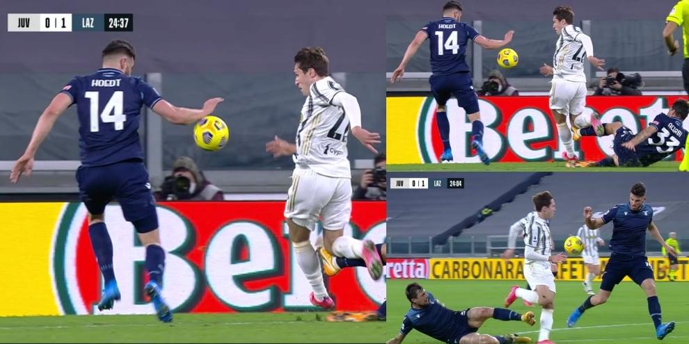 Juve-Lazio: il mani di Hoedt in area