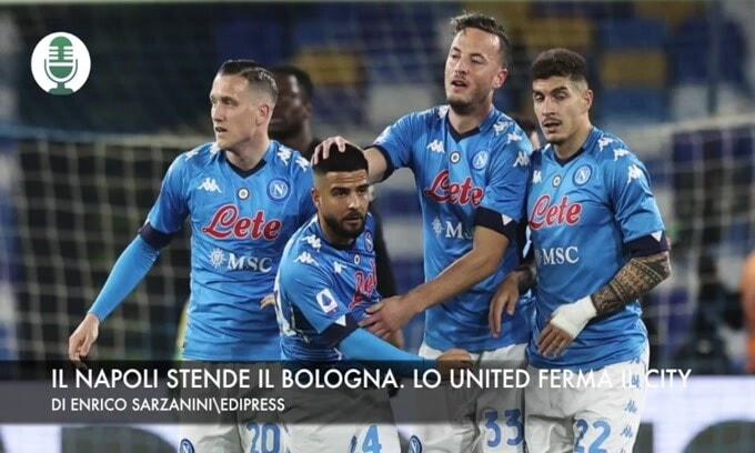 Il Napoli stende il Bologna. Lo United ferma il City