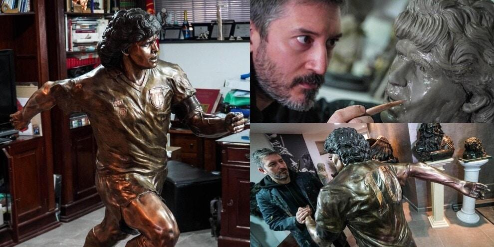 La statua di Maradona di bronzo: è a grandezza naturale