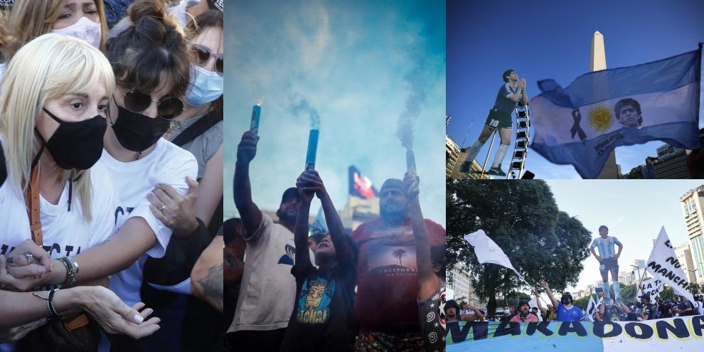 """Migliaia in marcia per Maradona: """"Non è morto, lo hanno ucciso"""""""
