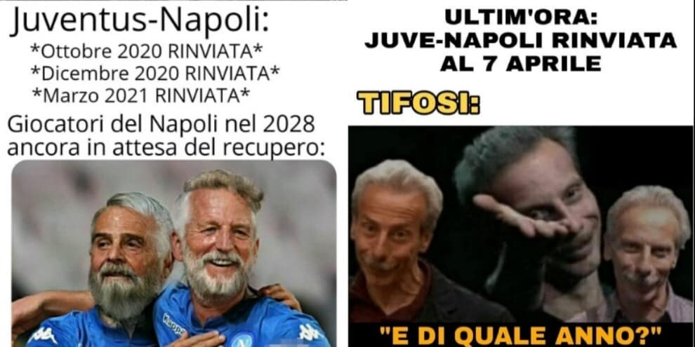 Juve-Napoli rinviata al 7 aprile: social in tilt per il nuovo slittamento