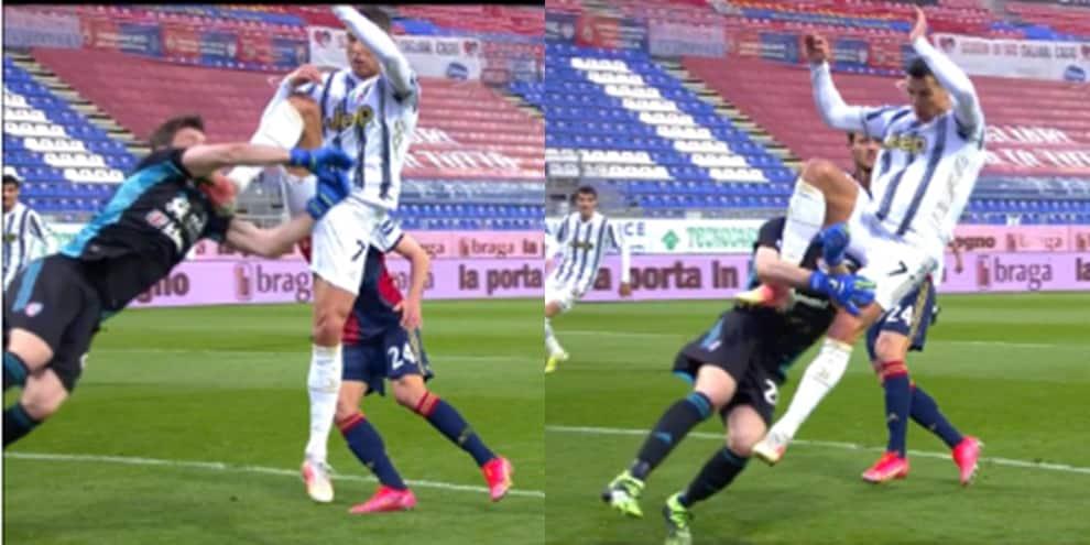 Cristiano Ronaldo, colpo in faccia a Cragno: giallo e nessun intervento del Var