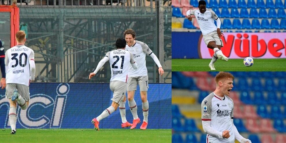 Bologna, rimonta pazzesca a Crotone: da 0-2 a 3-2
