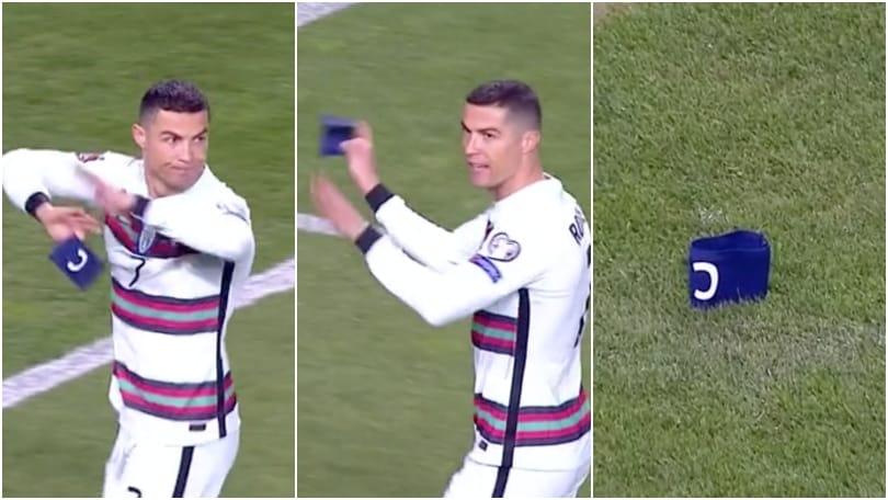 Portogallo, Ronaldo furioso dopo un gol non assegnato: getta la fascia e se ne va!