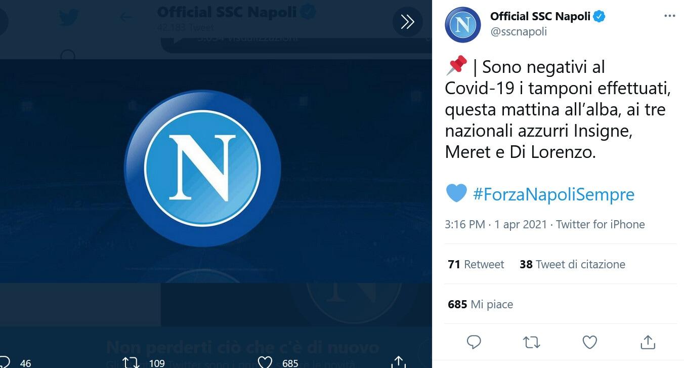 Napoli, buone notizie dai tamponi: Insigne, Meret e Di Lorenzo negativi