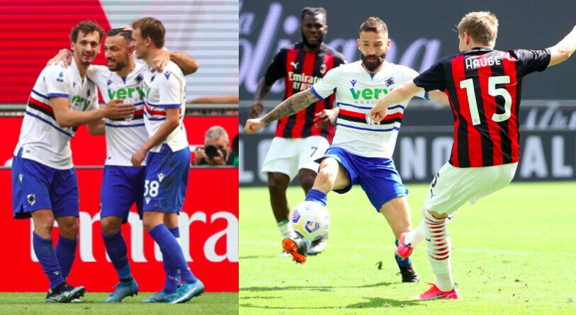 Hauge risponde a Quagliarella: 1-1 tra Milan e Sampdoria