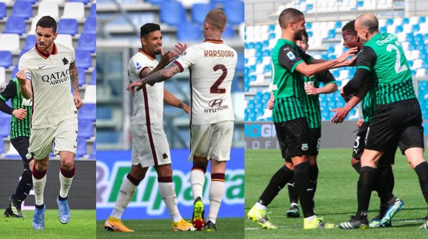 Roma, Pellegrini e Bruno Peres non bastano: 2-2 con il Sassuolo