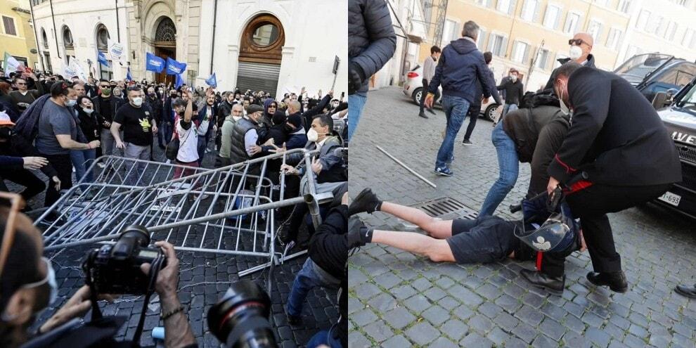 #Ioapro: scontri e cariche a Roma fra manifestanti e polizia