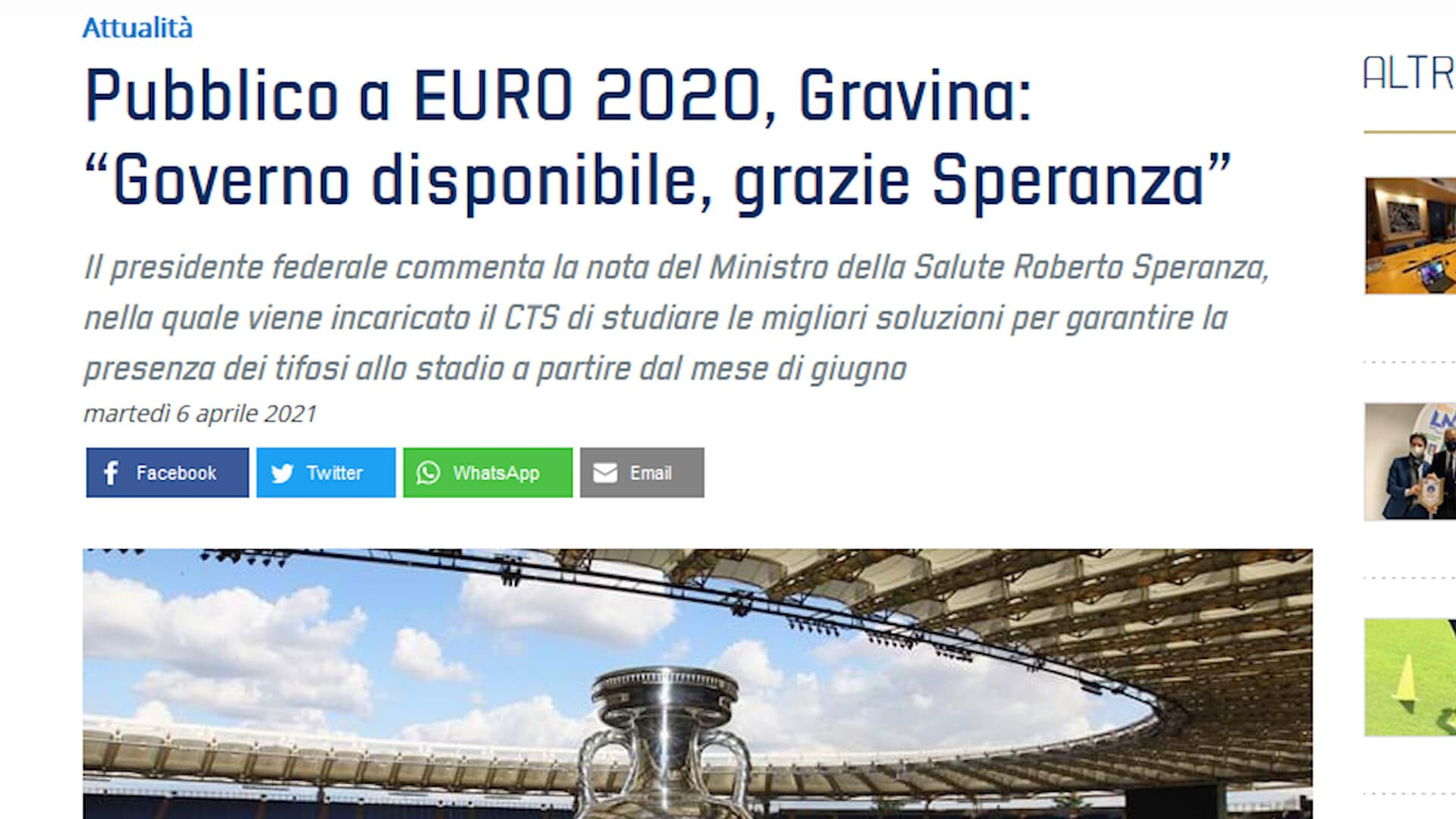 Italia, via libera dal Governo: Europei con tifosi allo stadio